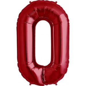 Cijfer rood 0 Party Balloon