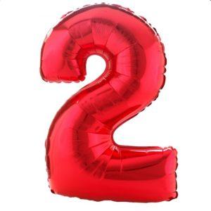 Cijfer rood 2 Party Balloon