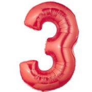 Cijfer rood 3 Party Balloon