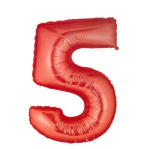 Cijfer rood 5 Party Balloon