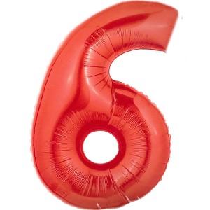 Cijfer rood 6 Party Balloon