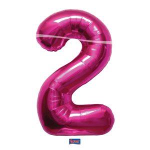 folieballon+cijfer+2+hard+rose+86cm