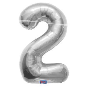 folieballon+cijfer+2+zilver+86cm