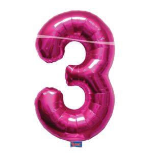 folieballon+cijfer+3+hard+rose+86cm