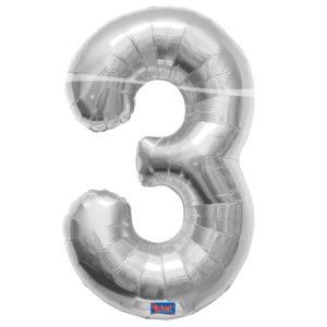 folieballon+cijfer+3+zilver+86cm