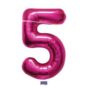 folieballon+cijfer+5+hard+rose+86cm