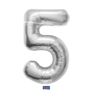folieballon+cijfer+5+zilver+86cm