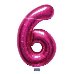 folieballon+cijfer+6+hard+rose+86cm