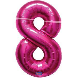 folieballon+cijfer+8+hard+rose+86cm