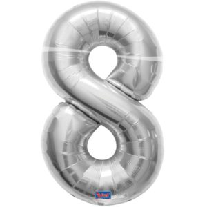 folieballon+cijfer+8+zilver+86cm