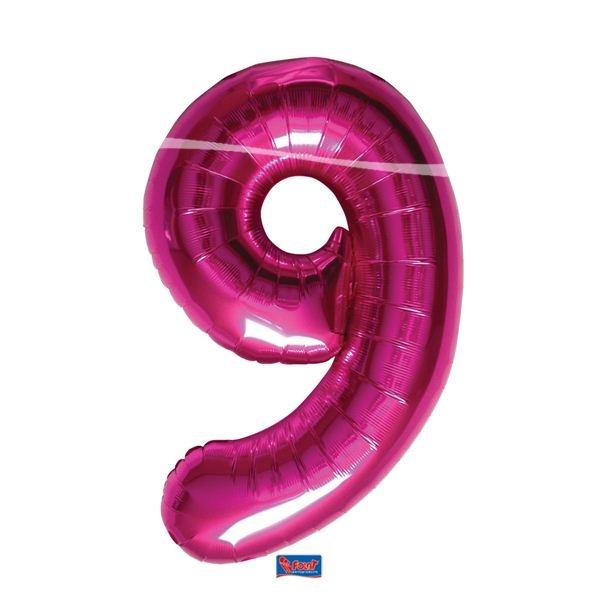 folieballon+cijfer+9+hard+rose+86centimeter