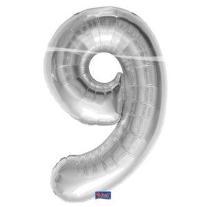 folieballon+cijfer+9+zilver+86centimeter
