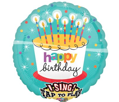 Muziekballon verjaardag kaarsjes