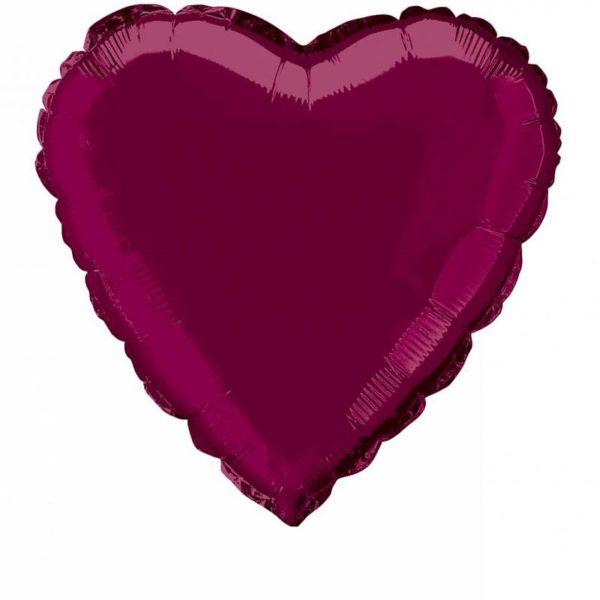 folieballon-hart-burgundy-18inch