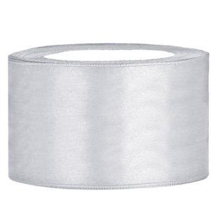 Satijn lint 40 mm Zilver