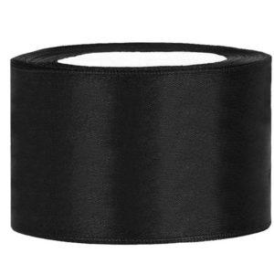 Satijn lint 40 mm zwart