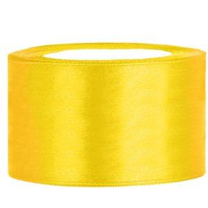 satijn lint 40 mm geel