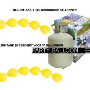 heliumtank+doorknoop ballonnen Geel 50