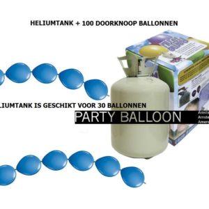 heliumtank+doorknoop ballonnen blauw 30