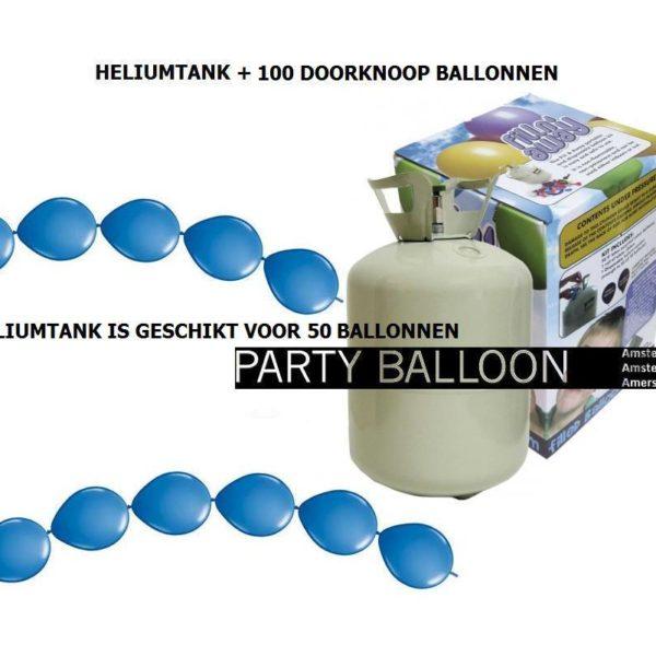 heliumtank+doorknoop ballonnen blauw 50