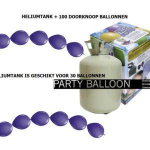 heliumtank+doorknoop ballonnen d.paars 30