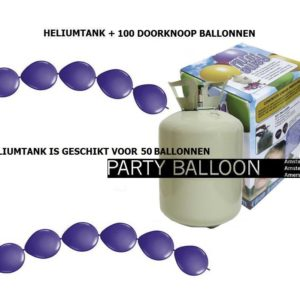 heliumtank+doorknoop ballonnen d.paars 50