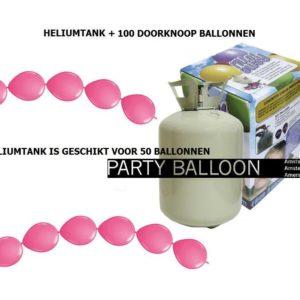 heliumtank+doorknoop ballonnen d.roze 50
