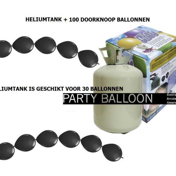 heliumtank+doorknoop ballonnen zwart 30