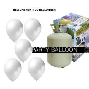 heliumtank+voor+circa+30+ballonnen WIT metallic