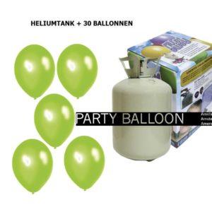 heliumtank+voor+circa+30+ballonnen appel groen metallic