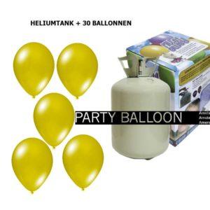 heliumtank+voor+circa+30+ballonnen d.geel metallic