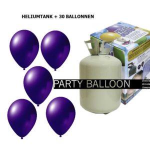 heliumtank+voor+circa+30+ballonnen d.paars metallic