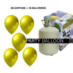 heliumtank+voor+circa+30+ballonnen l. geel metallic