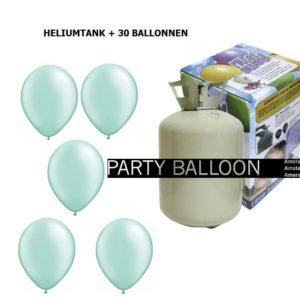 heliumtank+voor+circa+30+ballonnen mint pastel