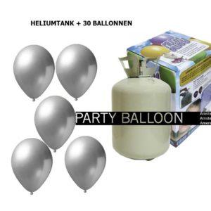heliumtank+voor+circa+30+ballonnen zilver metallic