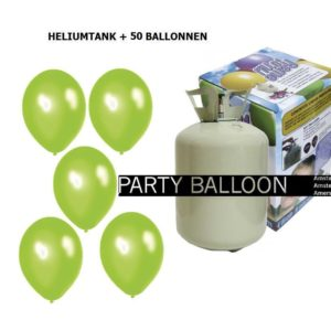 heliumtank+voor+circa+50+ballonnen appel groen metallic