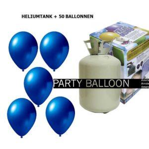 heliumtank+voor+circa+50+ballonnen d.blauw metallic
