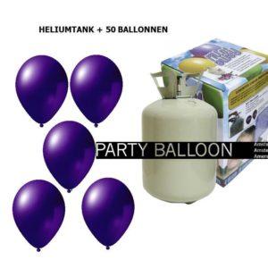 heliumtank+voor+circa+50+ballonnen d.paars