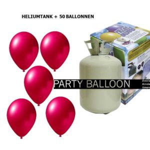 heliumtank+voor+circa+50+ballonnen d.roze metallic