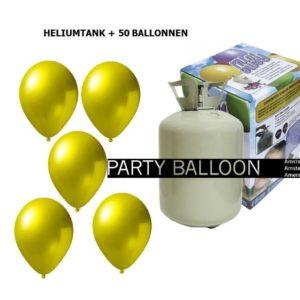 heliumtank+voor+circa+50+ballonnen l.geel metallic