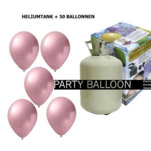 heliumtank+voor+circa+50+ballonnen l.roze metallic