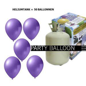 heliumtank+voor+circa+50+ballonnen lila metallic