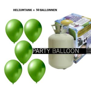 heliumtank+voor+circa+50+ballonnen lime green metallic