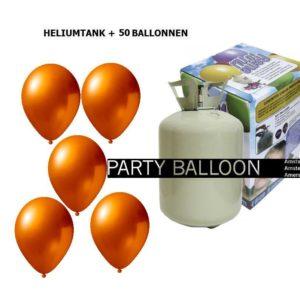 heliumtank+voor+circa+50+ballonnen oranje metallic