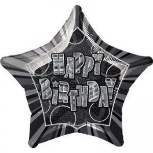 hb-zwart-zilver-glitter-folieballon-20inch
