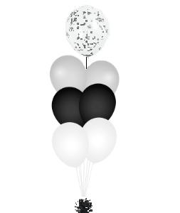 Confetti ballon op top zwart