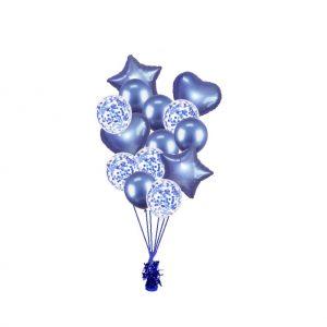luxe set met folie ballonnen chrome blauw + confetti