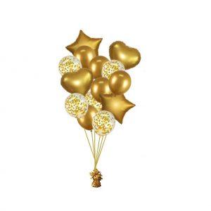 luxe set met folie ballonnen chrome goud + confetti