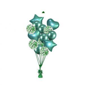 luxe set met folie ballonnen chrome groen + confetti