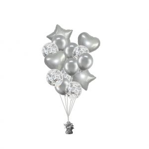 luxe set met folie ballonnen chrome zilver + confetti
